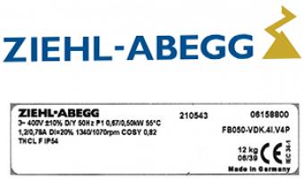 Данные о вентиляторах Циль-Абегг | Ziehl-Abegg
