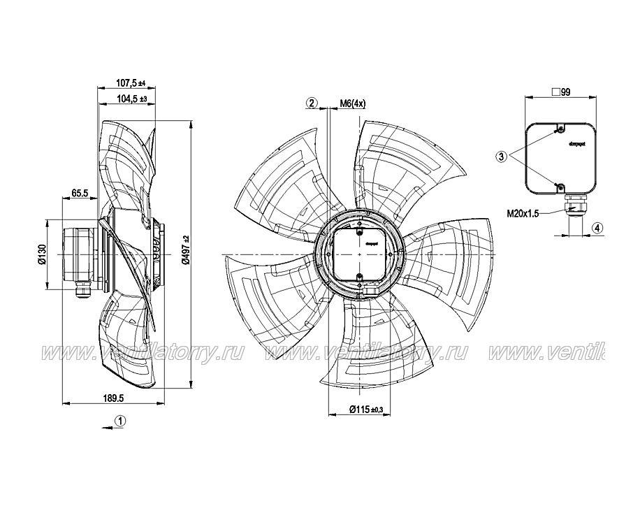 Чертеж и габаритные размеры вентилятора ebm-papst A4D500-AJ03-01