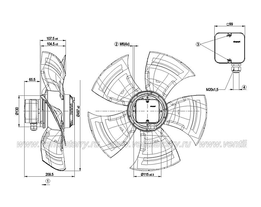 Чертеж и габаритные размеры вентилятора ebm-papst A4D500-AM01-03